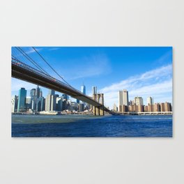 Famous Brooklyn Bridge Manhattan City Skyline Freedom Tower At Sunny Day Ultra HD Canvas Print