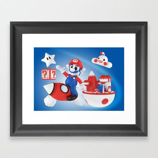 Skull Mario Space Jumper Framed Art Print
