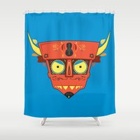 diablo Shower Curtains featuring Dia de Los Robot Diablo by Ashley Hay
