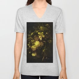 Flowers in a Vase - yellow Unisex V-Neck