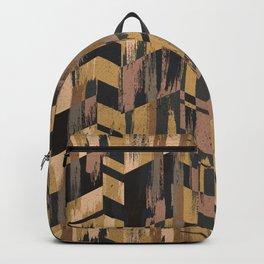 Golden Geometric Brush Backpack