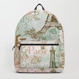 I love Paris - Vintage Shabby Chic - Eiffeltower France Flowers Floral Backpack