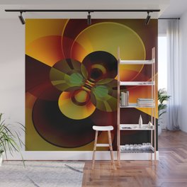 Brown and Gold Circles Geometric Abstract Wall Mural
