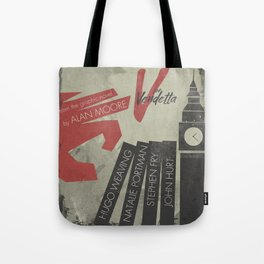 V fo r vendetta, minimal movie poster, Natalie Portman, Stephen Fry, film based on the graphic n Tote Bag