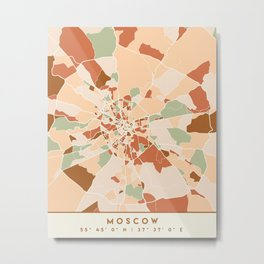 MOSCOW RUSSIA CITY MAP EARTH TONES Metal Print