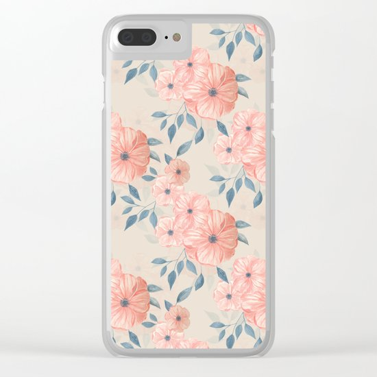 Seamless watercolor floral pattern Clear iPhone Case