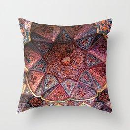 Decorative Ornamental Persian Tile Mosaic Ceiling, Persia, Iran Throw Pillow
