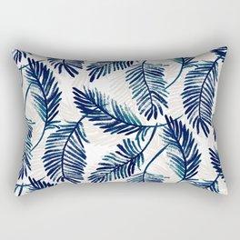 "Blue palm leaves pattern ""Pamela"" Rectangular Pillow"