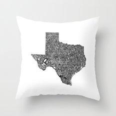 Typographic Texas Throw Pillow