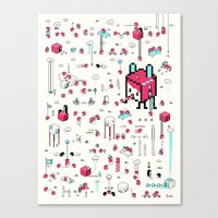 8bit Canvas Prints featuring 8bit Love by Elisa Sassi