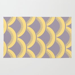 Japanese Fan Pattern Gray and Yellow Rug