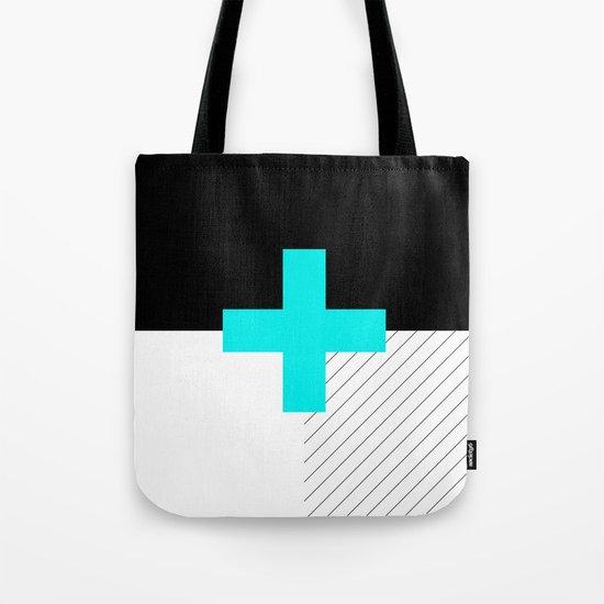 Neon Cross (Blue) // Neon Plus (Blue) Tote Bag