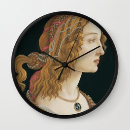 "Sandro Botticelli ""Idealized Portrait of a Lady (Portrait of Simonetta Vespucci as Nymph)"" Wall Clock"