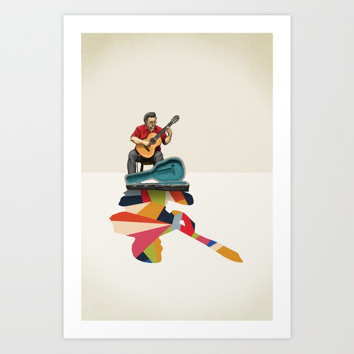 Walking Shadow, Guitarist Art Print