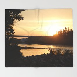 Sunset over Bowness Calgary Throw Blanket