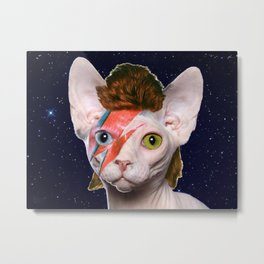 Starry Night Bowie Cat Metal Print