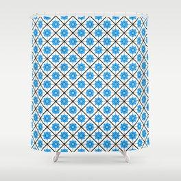 Maltese Tiles Pattern - Blue Shower Curtain