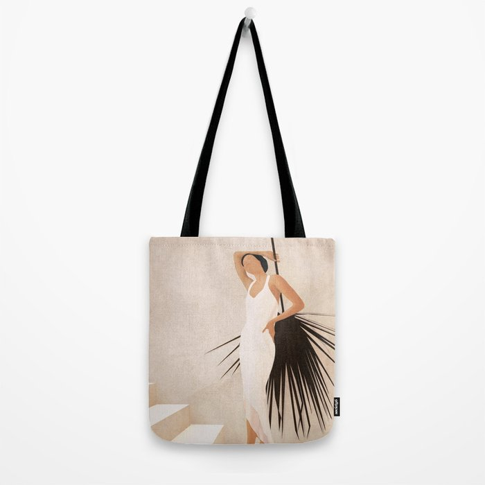 Minimal Woman with a Palm Leaf Tote Bag