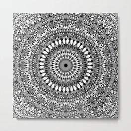Grey Ornate Gravel Mandala Metal Print