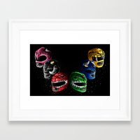 power rangers Framed Art Prints featuring Mighty Morphin Power Rangers by Jelly Soup Studios