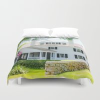 cape cod Duvet Covers featuring Cape Cod Colonial by ELIZABETH THOMAS Photography of Cape Cod