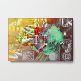 technical mosaic world Metal Print
