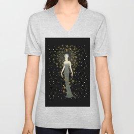 """Art Deco Sepia Illustration """"Star Studded Glamor"""" Unisex V-Neck"""