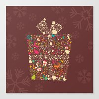 gift card Canvas Prints featuring Christmas Gift 01 by BlueLela