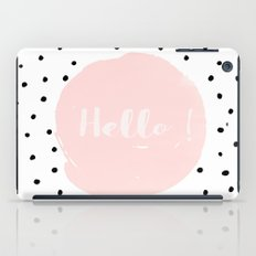 Hello! Black on white Polkadots and pink Typography iPad Case