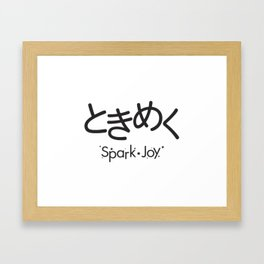 Tokimeku (Spark of Joy) - Black Typography version Framed Art Print