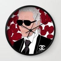 karl Wall Clocks featuring Karl Lagerfeld by Stephanie Jett
