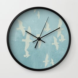 Birds on Blue - flying seagulls Wall Clock