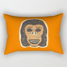 Retro Creepy Halloween Human Ape Face Rectangular Pillow