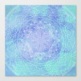 Blue Mandala Pattern Zen Painting Canvas Print