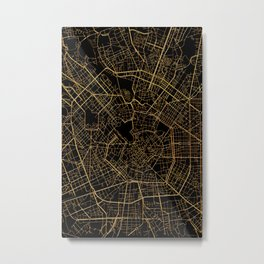 Black and gold Milan map, Italy Metal Print