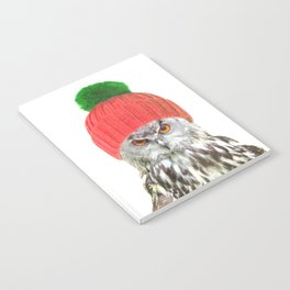 Owl with cap winter holidays Notebook