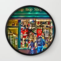 hip hop Wall Clocks featuring Hip Hop Dance Shop by Valerie Paterson