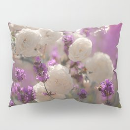 White roses and lavender scent Pillow Sham