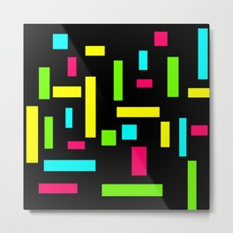 Abstract Theo van Doesburg Composition Neon on Black Metal Print