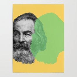 Walt Whitman portrait yellow green Poster