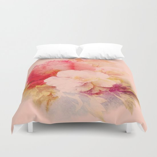 flowers on salmon background Duvet Cover