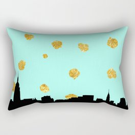 NYC Mint and Gold Rectangular Pillow