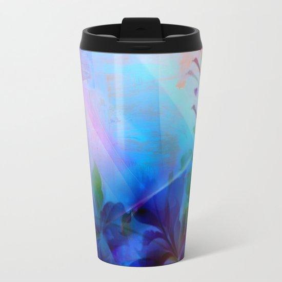 Sunset Painterly Floral Metal Travel Mug