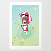 puppycat Art Prints featuring Bee n' PuppyCat by jacksonnnnnnn