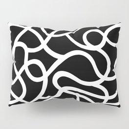 Organic River Lines - Black-White Pillow Sham