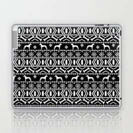 Great Dane fair isle christmas holiday black and white minimal pattern gifts for dog lover Laptop & iPad Skin