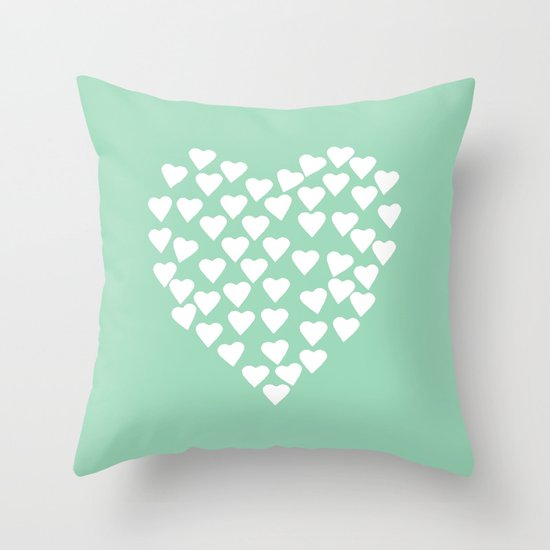 White Heart Throw Pillow : Hearts Heart White on Mint Throw Pillow by Project M Society6