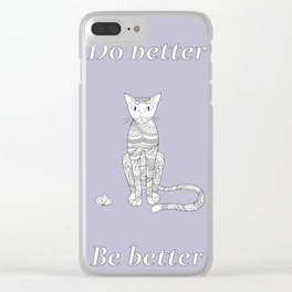 zen cat with flower Clear iPhone Case