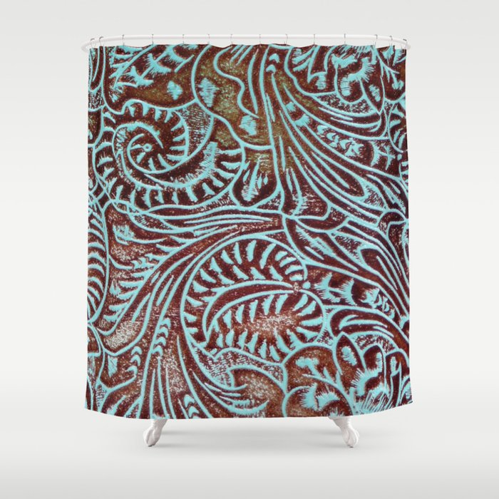 Light Blue Brown Tooled Leather Shower Curtain By Theghosttown