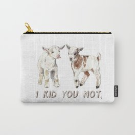 I Kid You Not: Baby Goat Watercolor Illustration Carry-All Pouch